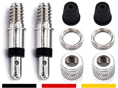 8-Teile Fahrradventile Dunlop Blitzventil komplett Set: 2x Ventileinsatz + Felgen-Mutter + Überwurf-Mutter + Ventilkappen auch für Puky Rad, Standard Normal-Ventil NV DV BV Ersatz Reifen-Ventile
