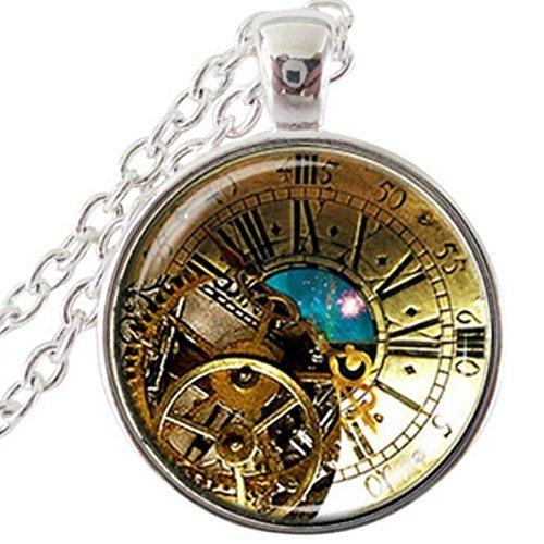 Blaugrün Farben Steampunk Uhr Anhänger, Nebel Zeit Platz Halskette, Uhr Astronomie Geek nicht eine tatsächliche Uhr Schmuck
