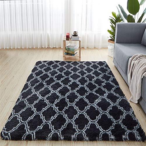 SCAYK Nordic Mode Flauschige rutschfeste gemischte gefärbte Teppich Wohnzimmer/Schlafzimmer Center Carpet Schwarz Grau Rosa Blau Große Größe Teppiche Große Teppiche Teppich für Wohnzimmer