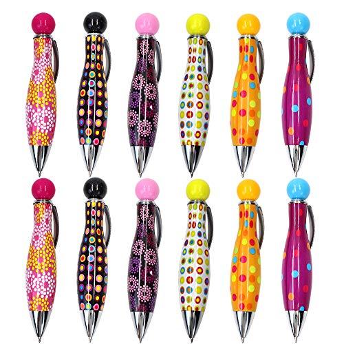Mini-Druckkugelschreiber, 0,7 mm, blaue Tinte, buntes Stiftgehäuse, niedlicher Stil, 12 Stück