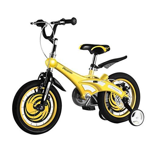Biciclette Bici per Bambini Passeggino Mountain Bike Bambini con Ruota Ausiliaria Triciclo Equilibrato Boy Girl Puzzle Walker Triciclo per Bambini (Color : Yellow, Size : 14 Inches)