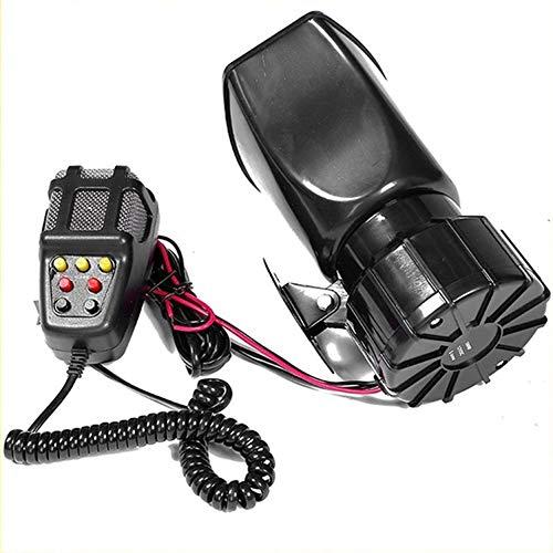N / E Inicio 100 W 12 V 7 sonido fuerte coche alarma policía cuerno de fuego sirena PA altavoz sistema micrófono coche motocicleta cuerno 7 tono sirena cuerno