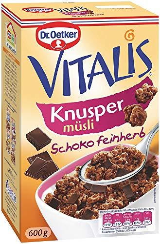 Dr. Oetker Vitalis Knuspermüsli Schoko feinherb, Knuspermüsli mit feinherber Schokolade, 5er Packung (5 x 600g)
