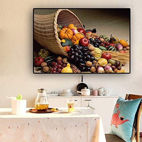 PLjVU Suplemento de Cocina de Frutas y Verduras Carteles e Impresiones sobre Lienzo Pintura Arte nórdico Sala de Estar Cocina decoración Pintura Pared-Sin marco35x50cm