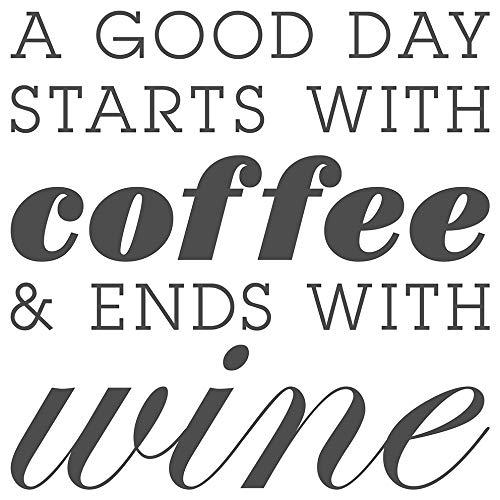 dekodino® Wandtattoo Spruch Küche lustig Kaffee Starts coffee ends wine