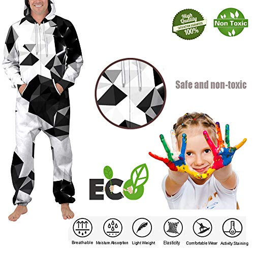 Morbuy Unisex Onesie Hoodie, Men's Adult 3D Print Jumpsuit Stylish Printed One Zip Playsuit Hooded Autumn Warm Pajama Plus Size Sleepwear Casual wear (L, Skull Tiger)