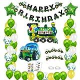 BOYATONG Decorazione di Compleanno per Bambini, Decorazione di Compleanno per Trattore, Striscione di Buon Compleanno con Palloncini in Alluminio per Trattore Stradale e Treno per 1-10 Anni