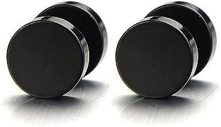 Círculo Negro, Enchufe falso Fake Plug, Pendientes de Hombre, Aretes, Acero Inoxidable, 2 Piezas