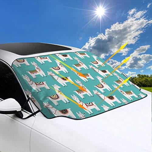 ngwanxinqu Peruanisches Lama Mexikanisches Alpaka Ethnische Decke Windschutzscheibe Schneedecke Eisentfernung Wischer Visierschutz Winter Sommer Auto Sonnenschutz für Autos LKW Vans SUVs