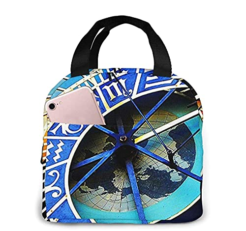 Bolsa de almuerzo aislada con reloj astronómico de Praga para mujeres y hombres, bolsa de almuerzo reutilizable, organizador de caja de almuerzo, bolsa refrigeradora con bolsillo frontal