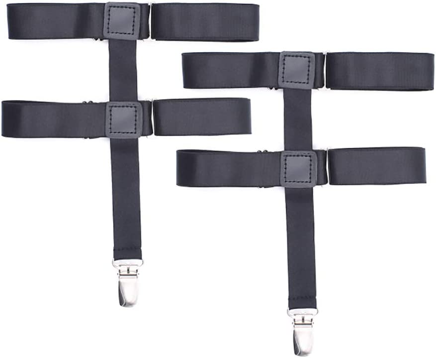 Geqian1982 Adjustable Sock Garters Sock Suspenders Holders Metal Non-Slip Clips 1Pair
