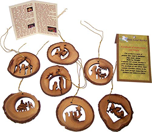 Holy Land Market Olive Wood Complete 7-Piece Christmas Bark Natural Ornament Set. Nativity Story