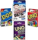 Monopoly Deal, Classic UNO, UNO DOS, & UNO FLIP 4 Card Games [Bundled by Brishan]