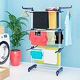 SANAWATEC Tendedero de torre portátil con 4 ruedas y plegable extraíbles, 3 estantes, estable, de polipropileno, plegable, con 2 alas, color azul