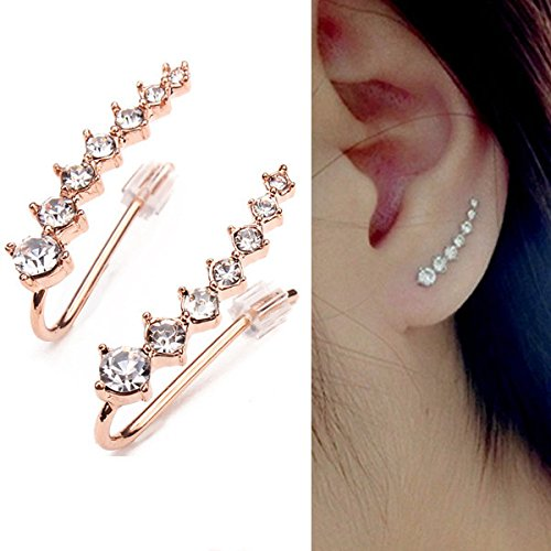 Italina Rhinestone Crystal Ear Cuff Pendientes Earring Anillo 18K Rose chapado en oro