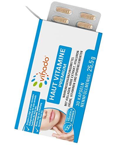 Vihado Haut Vitamine Premium – Hautpflege von innen mit Hyaluronsäure – Kollagen Kapseln mit Biotin, Zink und Hirse – Beauty Kapseln für Frauen und Männer zur Nahrungsergänzung – 30 Kapseln