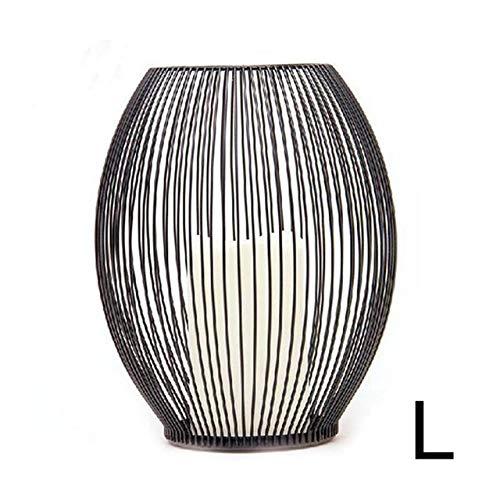Schmiedeeisen Hohlkerzenhalter Eisen Kerzenhalter schwarz Couchtisch Geometrische Formen Dekoration Wohnzimmer Aktivität Kerzenhalter (Color : L)