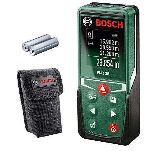 Bosch Laser-Entfernungsmesser PLR 25 (0,05-25 m Messbereich, +/- 2 mm Messgenauigkeit, mit Schutztasche)