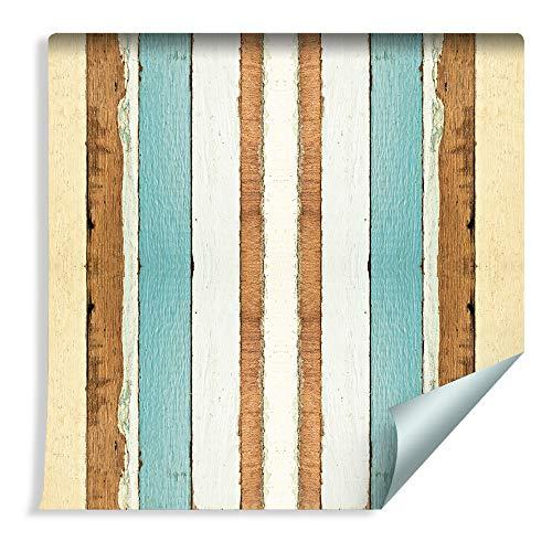 Muralo 304615550 - Papel pintado con láminas de madera de colores, vinilo vintage árbol imitación de madera