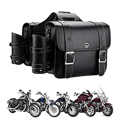 Motorcycle Saddebags Throw Over Saddle bags Panniers Side Bags with cup holder and lock for Sportster Softail Dyna Road King Synthetic Leather Universal, 1 Pair, Black by KEMIMOTO