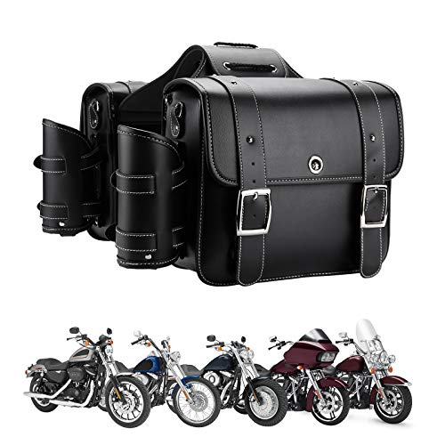 Motorcycle Saddebags Throw Over Saddle bags Panniers Side Bags with cup holder and lock for Sportster Softail Dyna Road King Synthetic Leather Universal, 1 Pair, Black