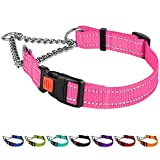 CollarDirect Reflective Dog Collar Martingale Collars Side Release Buckle Chain Training Adjustable Pet Choke Collars (L, Neck Size 17'-22', Pink)