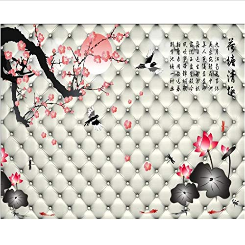 Wuyyii op maat behang 3D foto muurschildering Lotus vijver Chinese leuke zachte tas bank achtergrond muur woonkamer slaapkamer 3D-behang 200 x 140 cm.