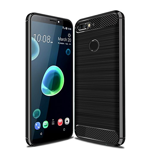 Cruzerlite HTC Desire 12 Plus hülle, HTC Desire 12+ hülle, Carbon Fiber Shock Absorption Slim TPU Cover Schutzhülle für HTC Desire 12 Plus/Desire 12+ (Black)
