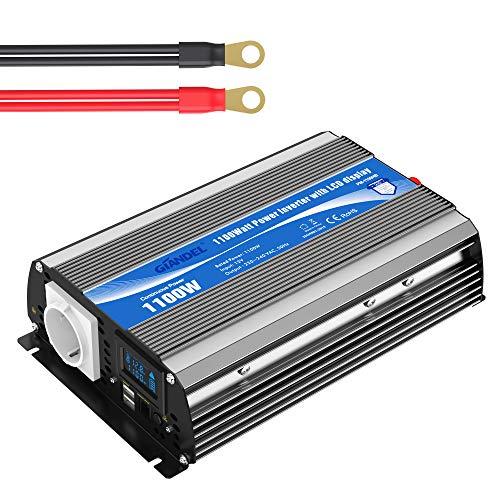 GIANDEL 1100W Modifizierter Sinus Wechselrichter 12V auf 230V Spannungswandler Power Inverter mit LCD-Bildschirm & Fernbedienung & Dual 2.4A USB-Anschlüsse EU-Steckdose für Wohnmobil Auto