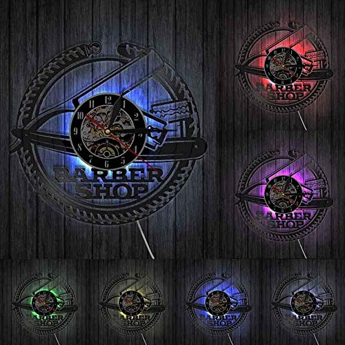 Reloj de pared creativo Barbería Arte Vintage Diseño Iluminado Vinilo Reloj de Pared Corte de Pelo Afeitadoras Peinado LED Luz de pared Mesita de noche Lámpara sin LED