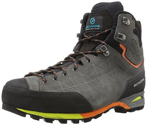 SCARPA Men's Zodiac Plus GTX Waterproof Gore-Tex Boots for Backpacking and Hiking - Shark/Orange - 9-9.5