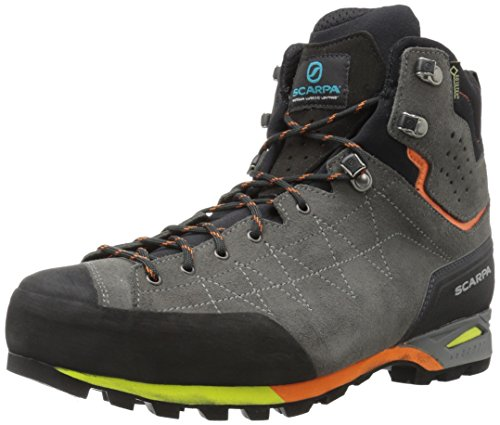 SCARPA Men's Zodiac Plus GTX Hiking Boot, Shark/Orange, 7-7.5