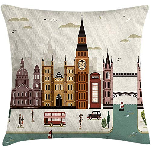 NAN TIAO Fodera per Cuscino del Cuscino di tiro di Londra, Paesaggio di Viaggio Famosa Città Inghilterra Big Ben Cabina telefonica Westminster, Crema 18x18 Pollici