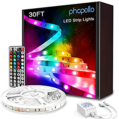 Phopollo LED Strip Lights, 30ft 5050 RGB Flexible Led Lights with 44 Keys Remote Controller and 12V Power Supply for Bedroom, House, Holiday Decoration