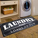Abreeze Laundry Room Rug Loads of Fun Rug Floor Mat for Washroom Mudroom Non Skid Rubber Waterproof Kitchen Mat Laundry Runner Rug Farmhouse Rug Black Rug Non Slip Rug 20x48 Carpet for Laundry,Black