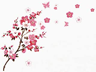 SWORNA Nature Series Branch Pink Flowers & Butterfly Removable Vinyl Mural Wall Art Decor Home Stickers Decals Bedroom/Hallway/Sitting/Living Room/Kids Nursery (29.5''H X 65''W, Brown & Pink,X-L)