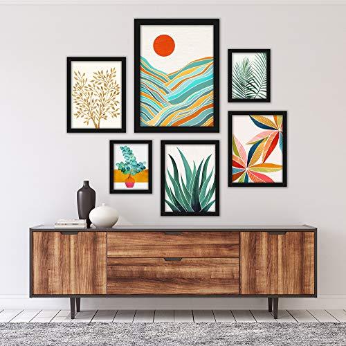 Americanflat Framed Gallery Wall Art Set - 6 Piece Art Set 4 by Modern Tropical Black Framed Art