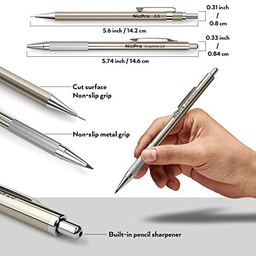 Nicpro 6 PCS Art Mechanical Pencils Set Metal, Artist Drafting Pencil 0.3 & 0.5 & 0.7 & 0.9 mm and 2mm Lead Holder For Art Writing, Sketching Drawing,With 8 Tubes Lead Refills Erasers Sharpener Photo #7