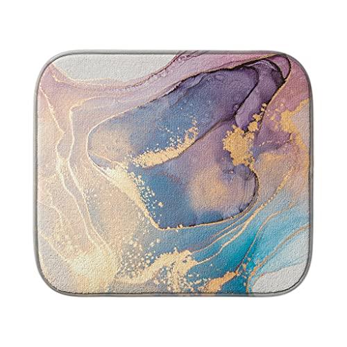 Dish Drying Mat Blue And Purple Ink Marble Drying Mats For Kitchen Counter Microfiber Dishes Drying Pad kitchen Accessories 16x18 Inch