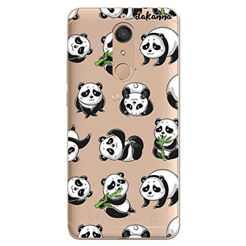 dakanna Funda Compatible con [Wiko View XL] de Silicona Flexible, Dibujo Diseño [Panda], Color [Fondo Transparente] Carcasa Case Cover de Gel TPU para Smartphone