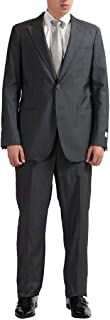 Men's Wool Striped Two Button Gray Suit