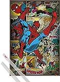1art1 Spider-Man Póster (91x61 cm) The Amazing, Marvel Comics Y 1 Lote De 2 Varillas Transparentes