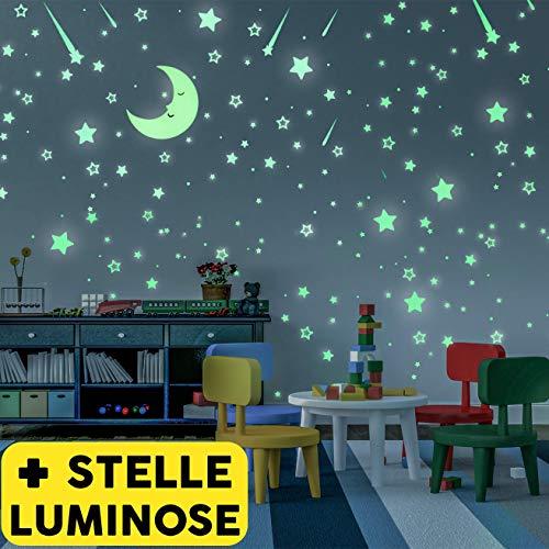 Stelle Adesive Fluorescenti e Grande Luna | Nuovo Set di 328 Pezzi Stickers Decorativi | Stelline Luminose Per Soffitto Cameretta Bambini | Si Illuminano Al Buio Di Notte