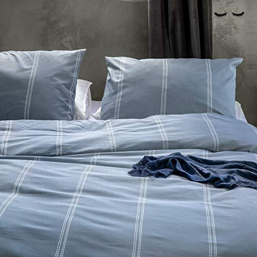 Walra Bettwäsche Remade Cotton Blend blau 1 Bettbezug 135 x 200 cm + 1 Kissenbezug 80 x 80 cm