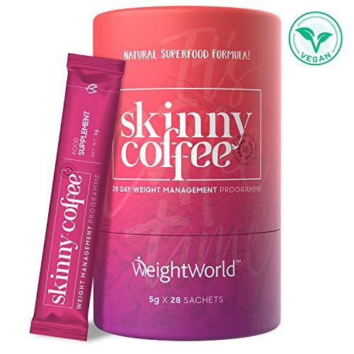 Skinny Coffee Drink - Low Carb Kaffee Pulver zum Abnehmen, 28 Tage Detox Diät Kur, Protein Shake mit Grüner Kaffee Extrakt & Matcha, Slim Fat Burner Kaffee Smoothie Mix - 90g Superfood Powder Vegan