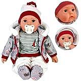 """20"""" Lifelike Large Size Soft Bodied Bibi Baby Doll Girls Boys Toy With Dummy & Sounds (Grey)"""