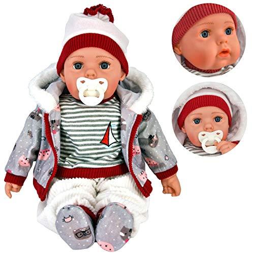 20' Lifelike Large Size Soft Bodied Bibi Baby Doll Girls Boys Toy With Dummy & Sounds (Grey)