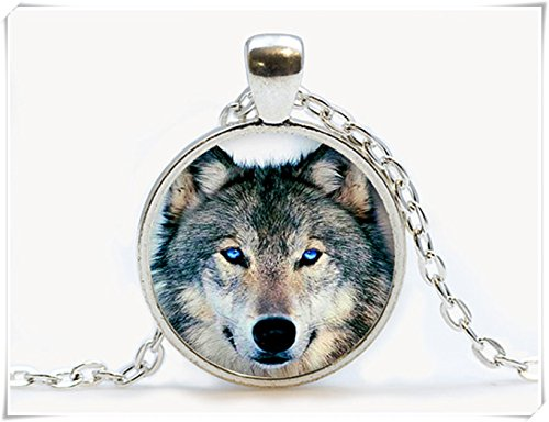 Lobo Lobo Colgante, collar joyería. Animal collar cristal joyas, de cúpula de, Pure hecho a mano