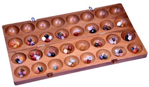 Hus - Bao - Kalaha - Mancala - Steinchenspiel - Edelsteinspiel aus Samena-Holz inkl. Edelsteinen