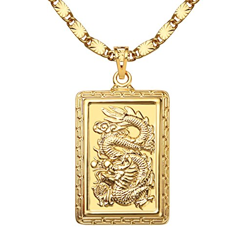 MASARWA Mens 24K Yellow Gold Plated Dragon Pendant Necklaces Chain 60cm